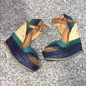 Mossimo Basket Weave Wedges 5.5 Green Blue